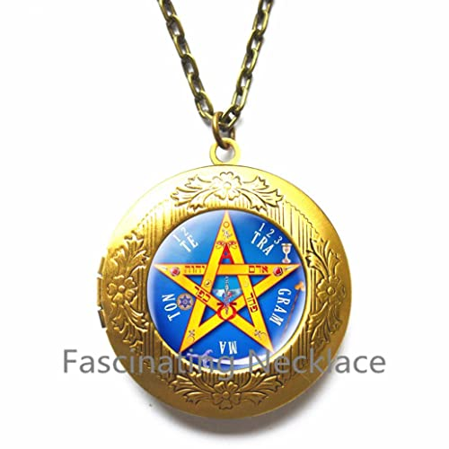 Grunge Locket Necklace Witchy Jewelry Pagan Jewelry Pentagram Locket Necklace Wiccan Locket Necklace,AE0094 Pentacle Locket Pendant Gothic Jewelry