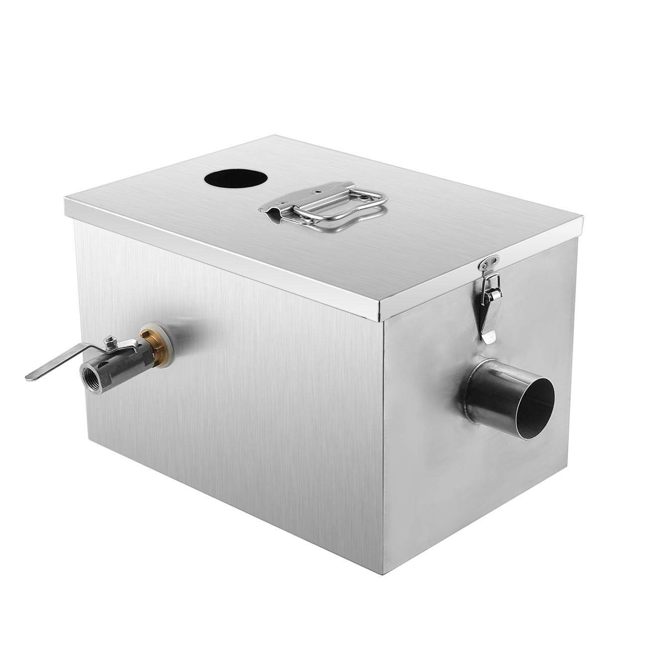 BEAMNOVA Commercial Grease Trap 8lbs 5GPM Gallons Per Minute Stainless Steel Interceptor for Restaurant Kitchen