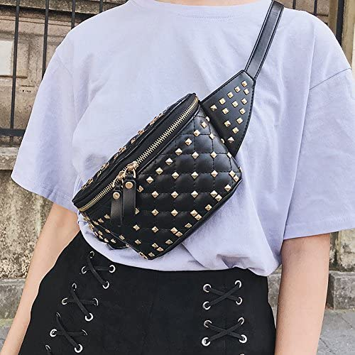 Rivets Waist Bag PU Leather Chest Pack Punk Fanny Pack Bags by YAHUIPEIUS