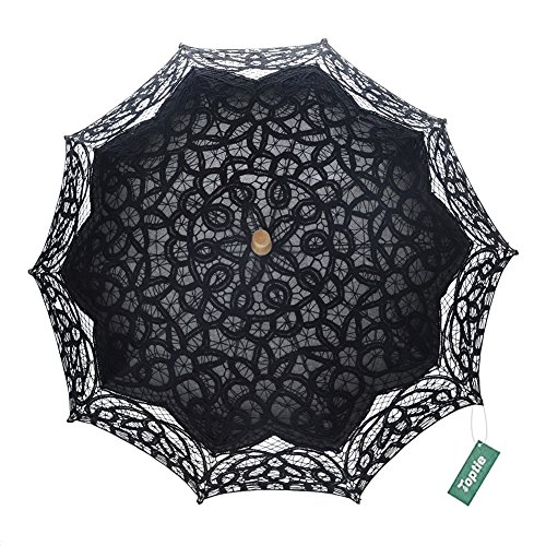 TopTie Lace Parasol Umbrella Wedding Party Decoration Bridal Costume Accessory BLACK-120PCS by TopTie