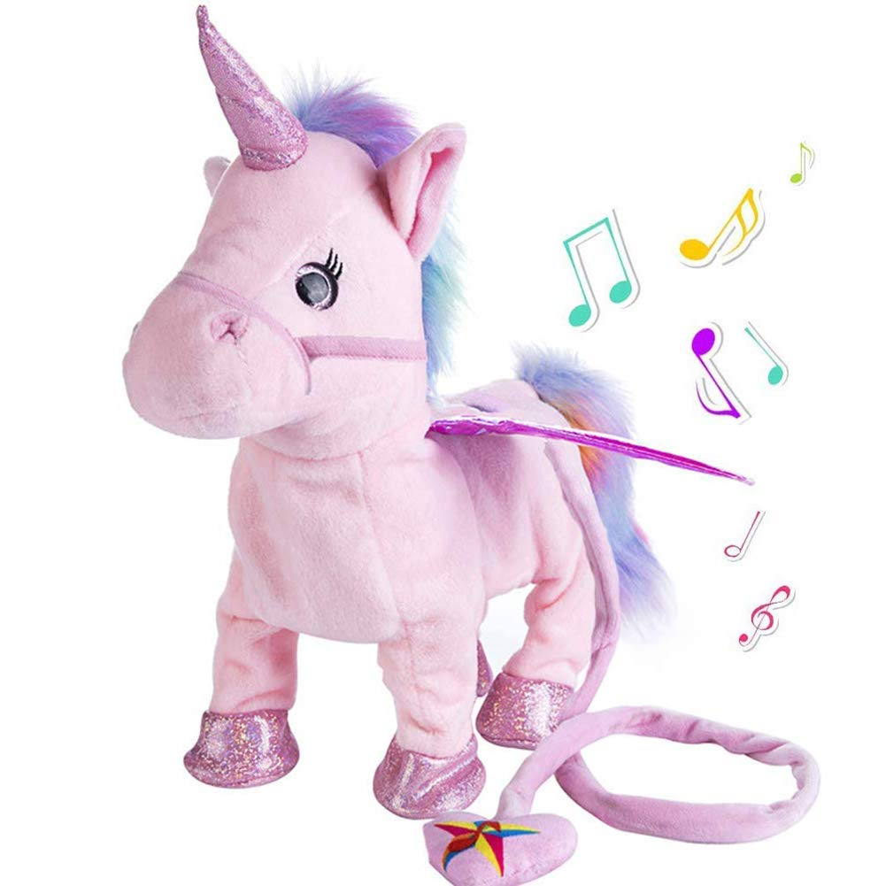 Willcome Lovely Electric Walking Plush Pony Toy - Soft Stuffed Unicorn Sing The Song for Baby Birthday Gifts (Pink) by Willcome