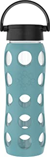 product image for Lifefactory Classic Cap, Aqua Teal 22-Ounce BPA-Free Glass Water Bottle with Protective Silicone Sleeve, 22 Ounce