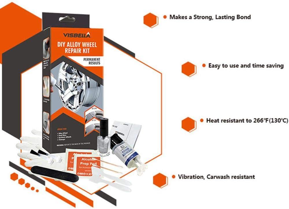 Rim Scratch DIY Alloy Wheel Repair Kit 5mins-Fast General Purpose Silver Paint Fix Tool for Car Auto Rim Dent Scratch Care Accessory Wheel Repair Adhesive Kit