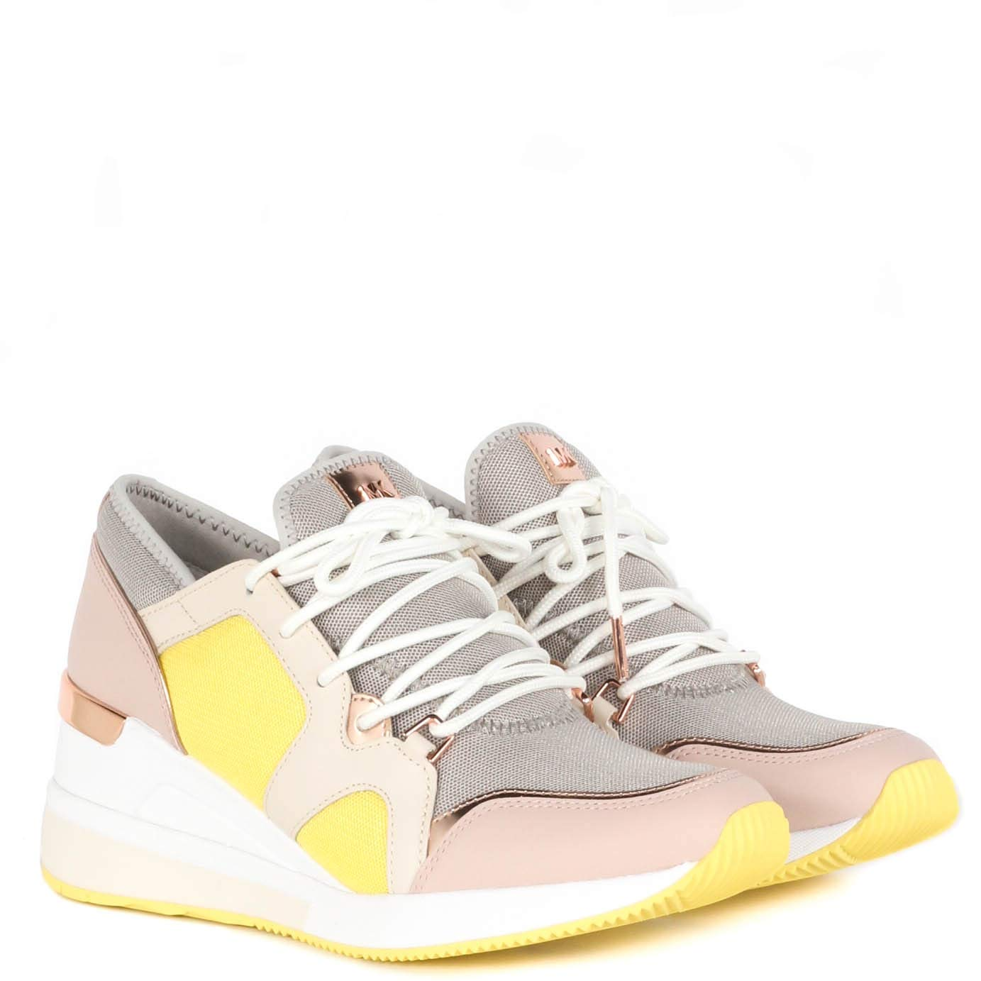 Michael Kors MK Women's Liv Trainer Canvas Sneakers Shoes Oxblood (5, Aluminum)
