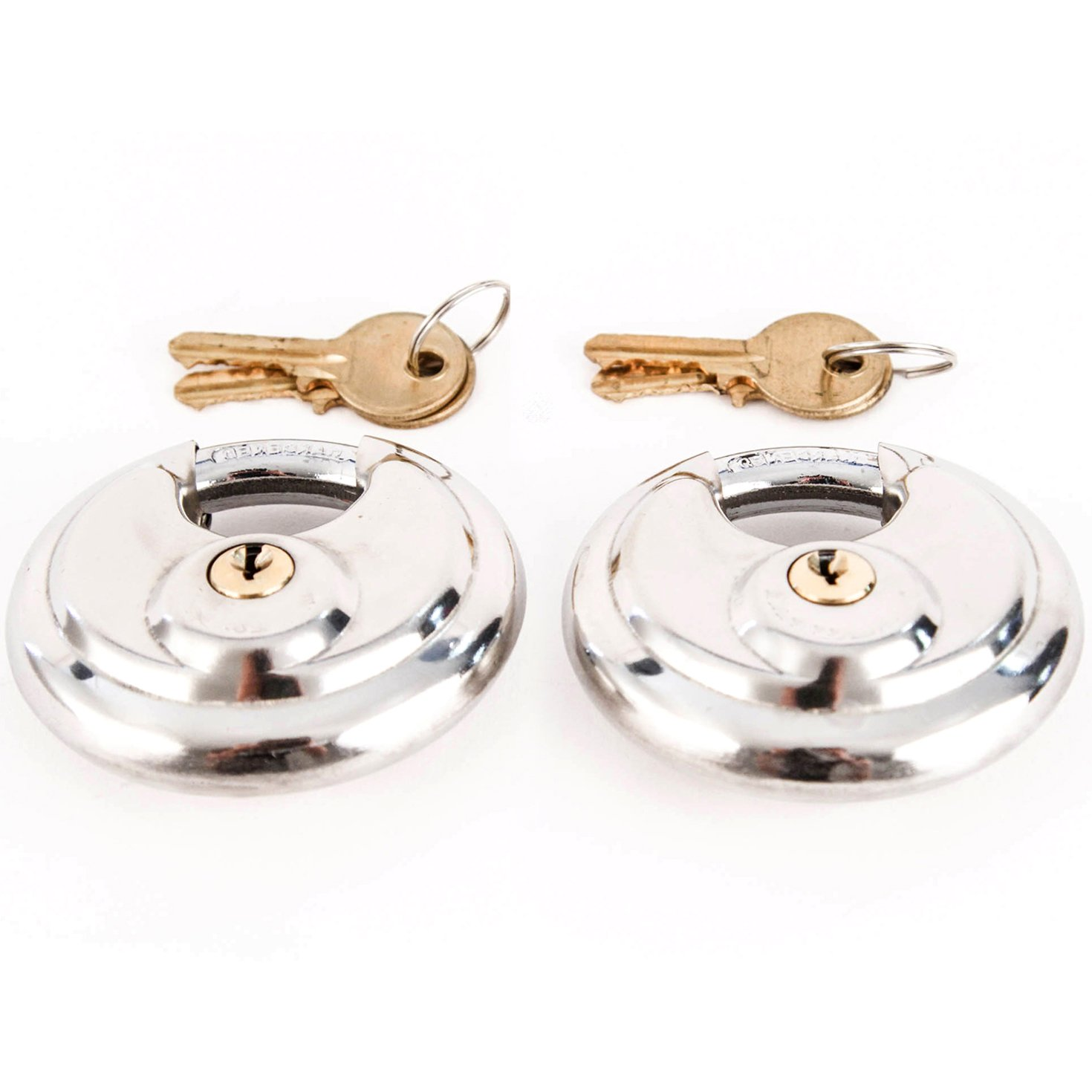 Red Hound Auto Stainless Steel Shrouded Disc Padlock with 2-3/4'' Wide Body (Pack of 2) Shackle Shielded Trailer Self Storage Pair Keyed Alike with 4 Keys Included 70 mm