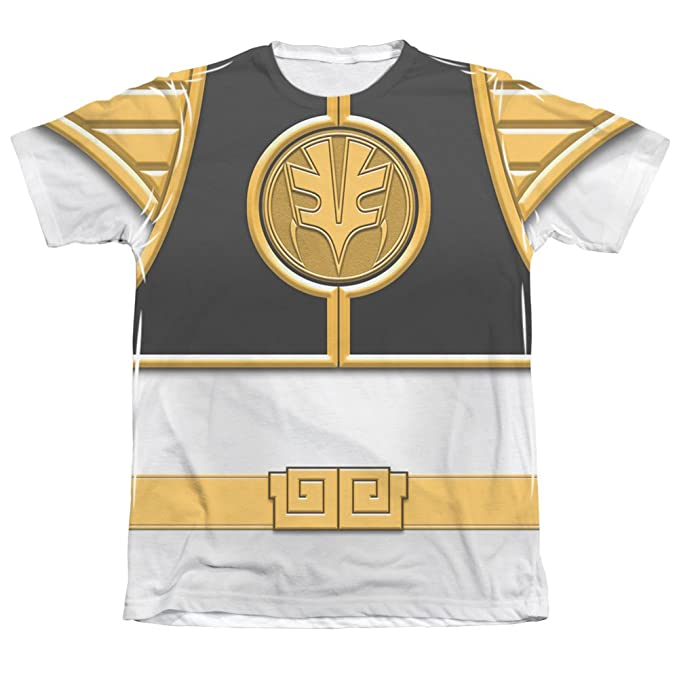 Power Rangers Mighty Morphin White Ranger Mens Sublimation Shirt ... 5b70280bbafb