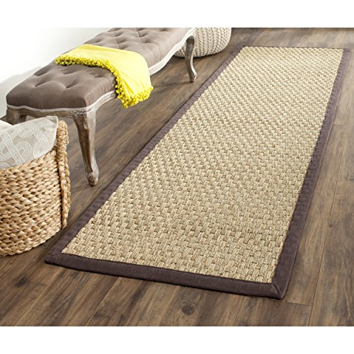 "Safavieh Natural Fiber Collection NF114K Basketweave Natural and  Dark Brown Seagrass Runner (2'6"" x 12')"