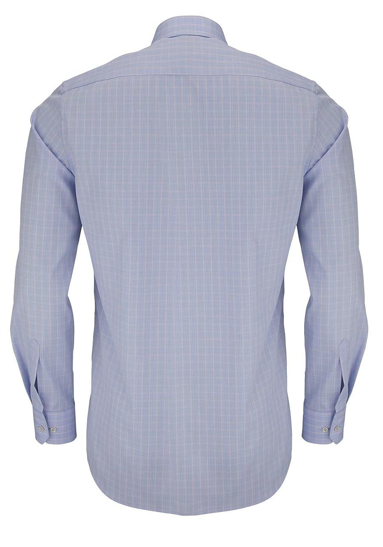 ETERNA Modern Fit Hemd super langer Arm mit Besatz Karo blau AL 72:  Amazon.de: Bekleidung