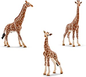 Schleich Giraffe Family Toy Figures Set - Male, Female, and Calf Figurines