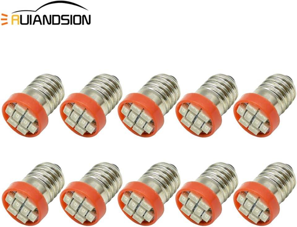 Ruiandsion - 10 bombillas LED E10 de 0,5 W, 12 V, 24 V, 1210, 8 SMD, repuesto para faros delanteros y linternas, color rojo