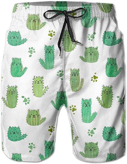 XXL Cactus Beach Trunks Mens Printed Swim Board Shorts with Mesh Lining M L XL