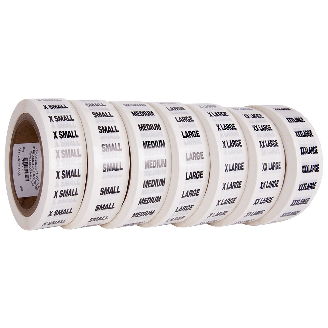 Clothing Size Strip Labels - 1.25'' X 5'' - 250 Strips Per Roll - 1500 Labels Total! - Clear with Black and White Ink by Kenco (7 Pack) by Kenco