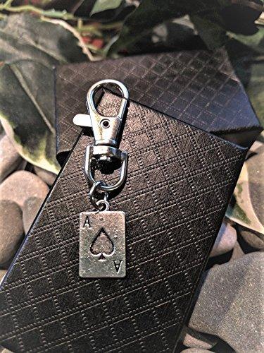 Handmade Silver Ace Of Spades Playing Card Clasp / Handbag Charm / Zip Puller