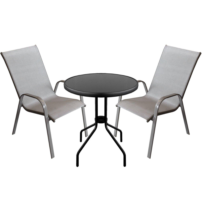 3tlg terrassenm bel set bistro glastisch 60cm 2x. Black Bedroom Furniture Sets. Home Design Ideas