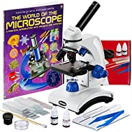 AmScope AWARDED 2016 BEST STUDENT MICROSCOPE 40X-1000X Dual Light Glass Lens Metal-Body Student Microscope with Slides, Tools and Book