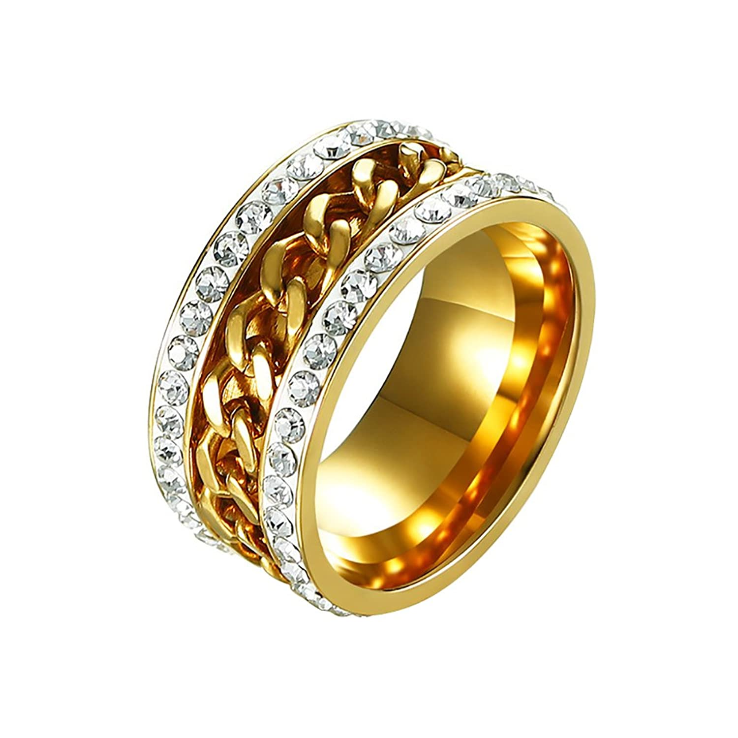 EZSONA 11MM 2 Row Crystal Rhinestones CZ Stainless Steel Spinner Chain Gold Rings Wedding Ring