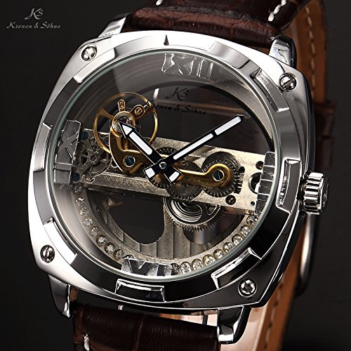 Good New Mens Luxury Skeleton Steampunk Bridge Leather Automatic Mechanical Watch    Silver Brown   Buy Online In Oman. | Watch Products In Oman   See Prices,  ...