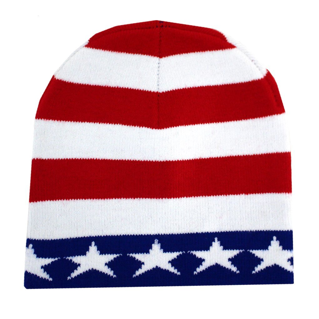 65dc9d09 Leema Enterprises Red, White and Blue American Flag Beanie