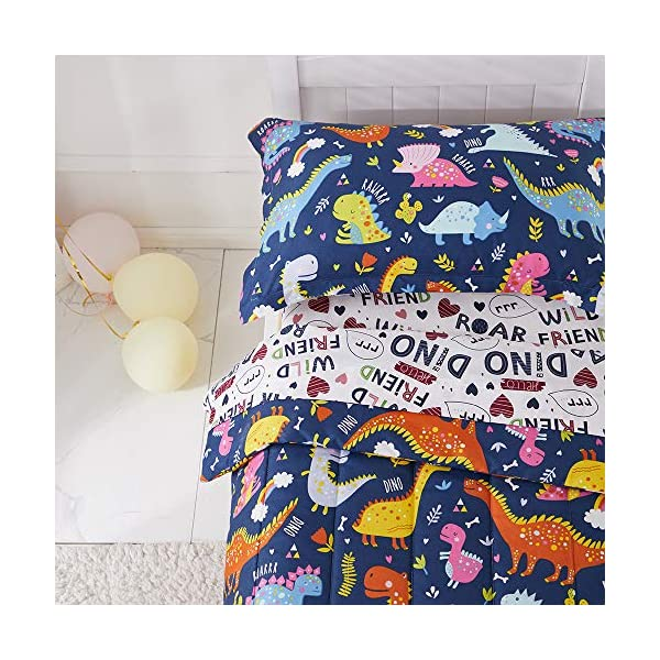 Joyreap 4 Piece Toddler Bedding Set, Standard Size Colorful Dinosaur Printed on Navy, Includes Quilted Comforter, Fitted Sheet, Top Sheet, and Pillow Case for Boys n Girls 3