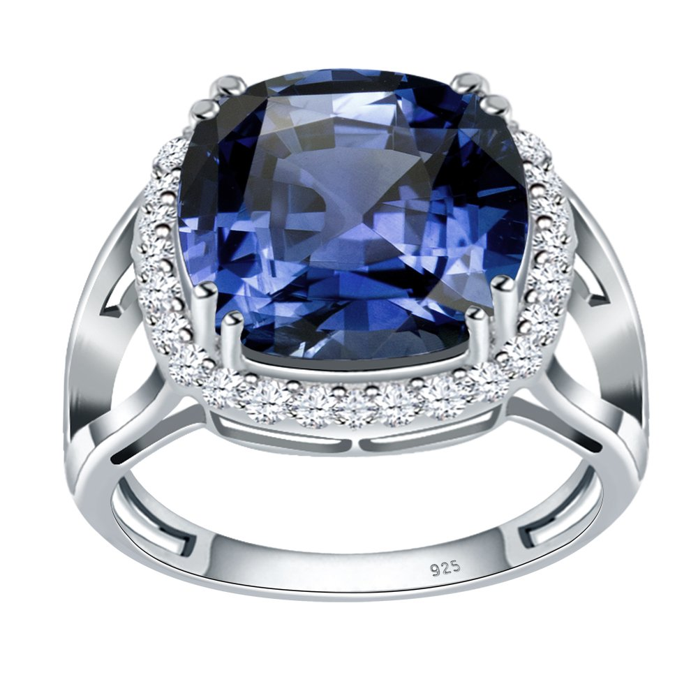 Simulated Blue Sapphire & White Topaz 925 Sterling Silver Ring for Women and Girls, Halo Ring, September Birthstone, Perfect for Mother Day, Birthday, Free Gift Box (10.75 Cttw, 12 MM Cushion)
