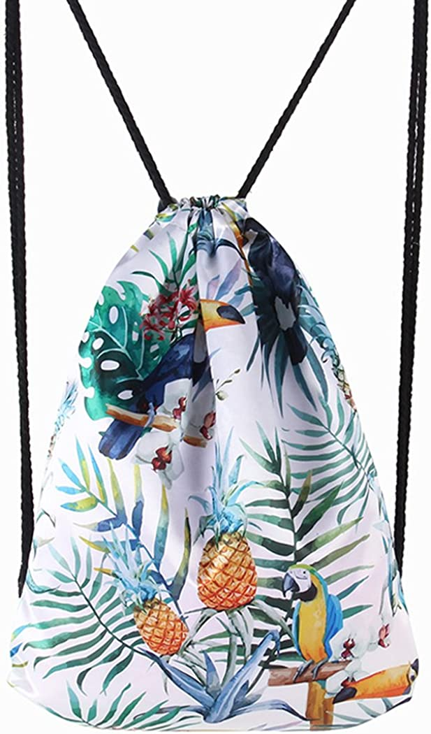 Drawstring Backpack Fanspack Printed Drawstring Bag Casual Colorful School Bag for Girls