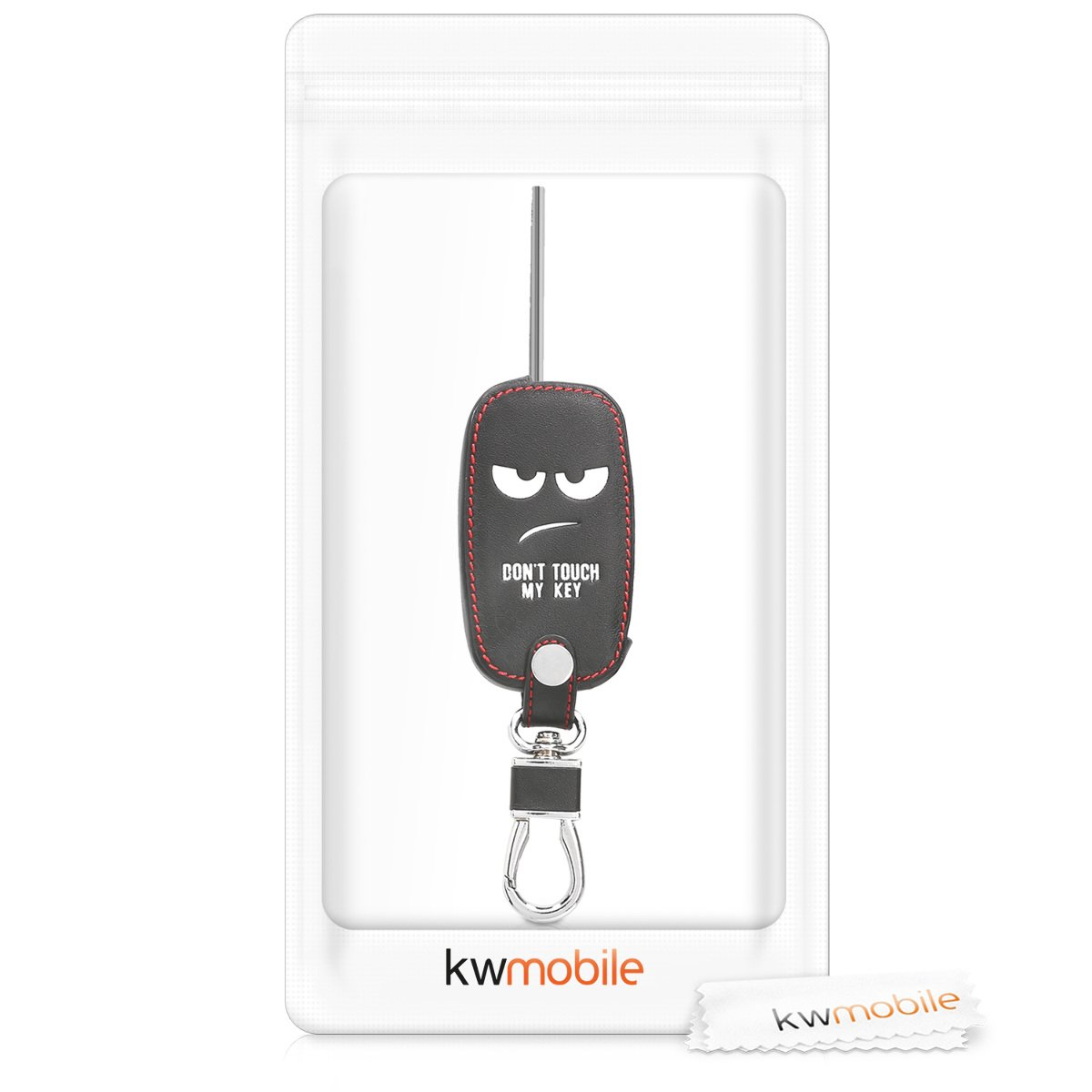 Heavy Duty PU Leather Protective Key Fob Cover for Kia 3-4 Button Car Key Black//Red kwmobile Car Key Cover for Kia