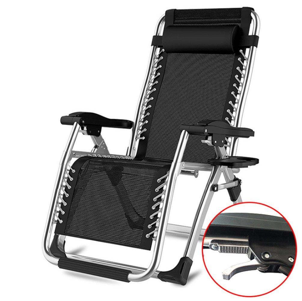 HONEI リクライニングチェア 折りたたみチェア 枕つき 幅72cm アウトドアチェア ゼログラビティ 金属ロック 耐荷重200kg (ブラック) B07FY7NC7V ブラック