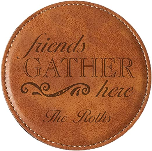 Personalised Family Name Coaster Set Full Grain Quality Leather Custom Gift