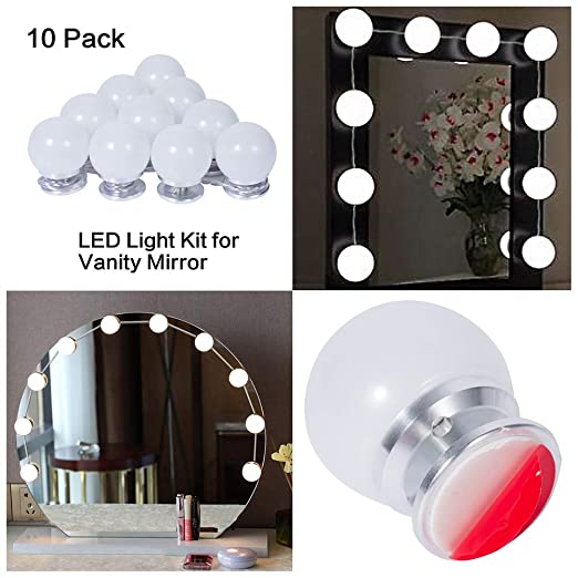 Ollny Led Vanity Mirror Lights Kit Stick On 10 Dimmable Led Lighting