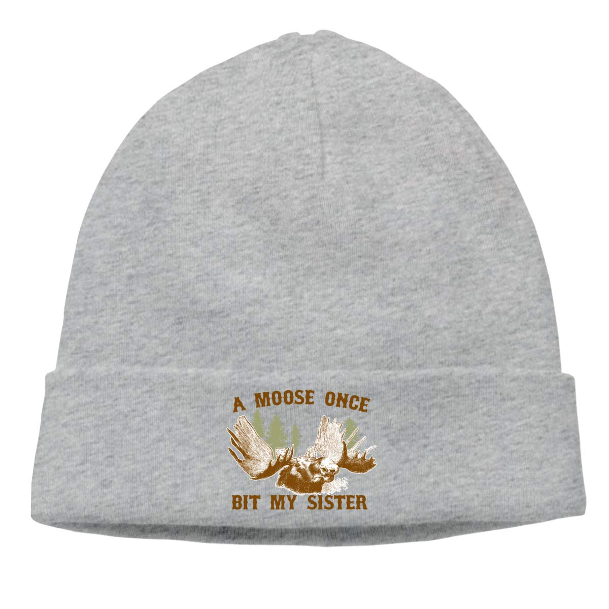 A Moose Once Bit My Sister Skull Hats Beanie Hat for Mens Gray