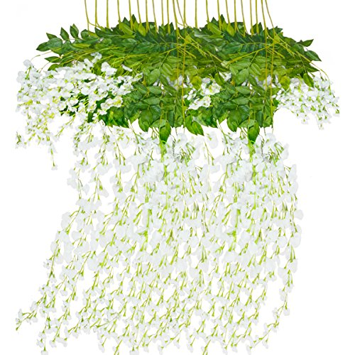 Mavee 12 Piece 3.6 Feet Artificial Silk Wisteria Vine Ratta Hanging Flower for Wedding Décor (white)