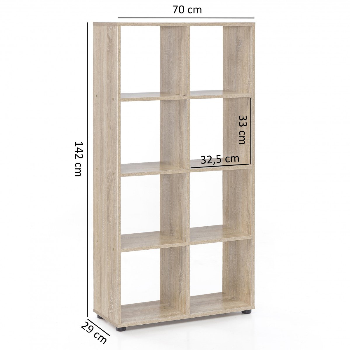 FineBuy Design Bücherregal Sara Sara Sara mit 16 Fächern Sonoma Eiche 138 x 142 x 29 cm   Standregal Holz Regal freistehend   Ordnerregal Raumteiler Würfel-Regal modern   Offenes Aufbewahrungsregal 089566