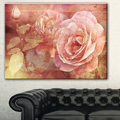 Pink Roses In Vintage Style floral Digital canvas Art Print,Pink wall art