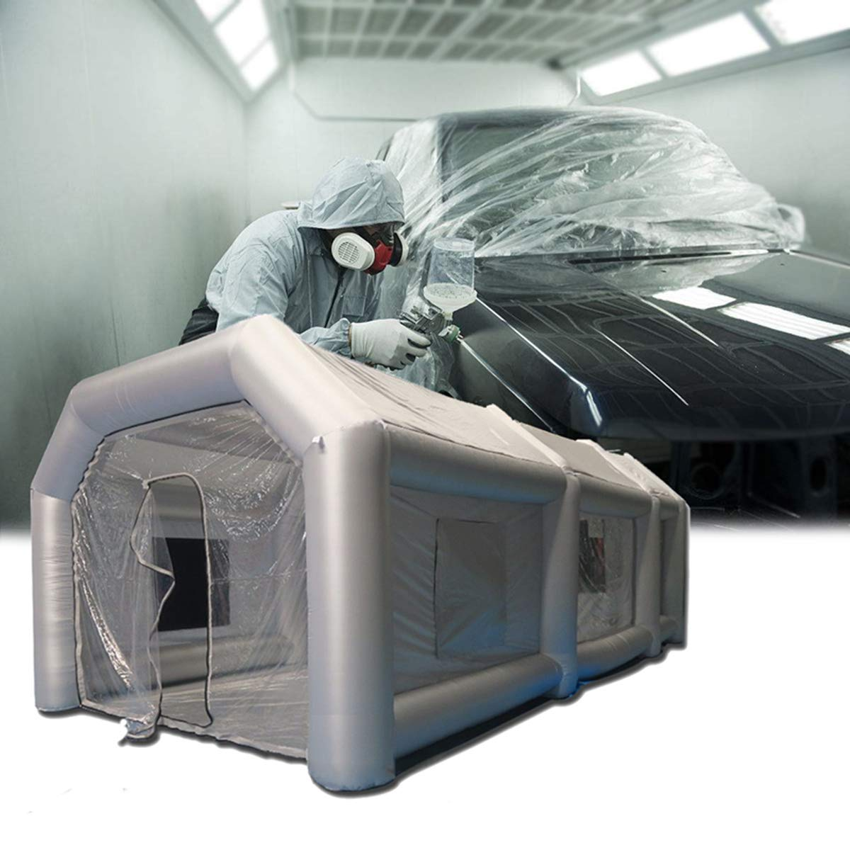 KingSo Inflatable Spray Booth Custom Tent Car Paint Booth Inflatable for Car Parking Tent Workstation, 26x13x10ft(No Electric Blowers)