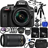 Nikon D3400 DSLR Camera (Black) Bundle with AF-P DX 18-55mm f/3.5-5.6G VR Lens, Nikon AF-P DX NIKKOR 70-300mm f/4.5-6.3G ED Lens, Carrying Case and Accessory Kit (31 Items) For Sale