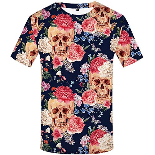KYKU Skull T Shirt Men 3D Printed T-Shirt Flower Short Sleeve Casual Clothing ()