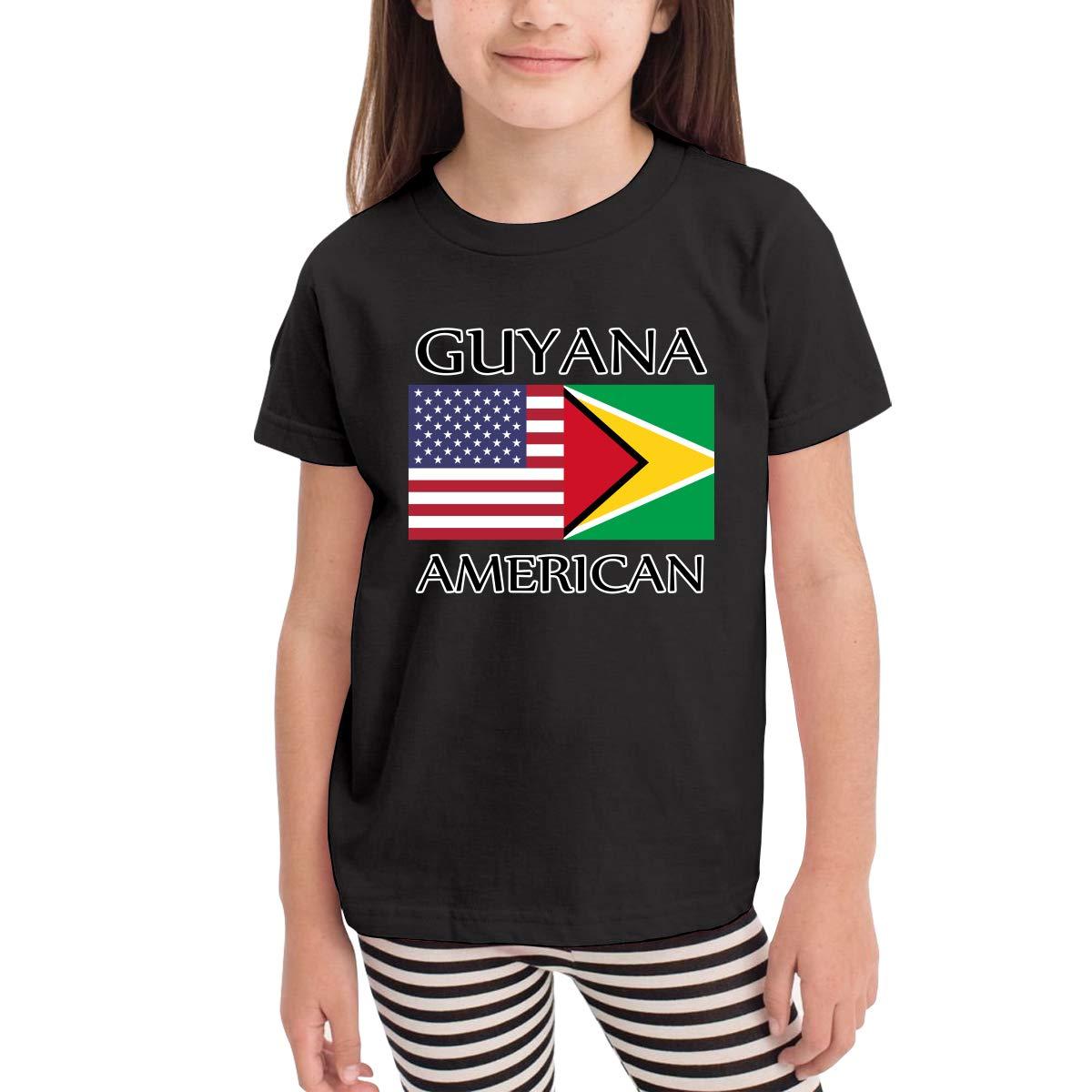 CERTONGCXTS Little Girls Guyana American Flag Cotton Short Sleeve Tee Shirt Size 2-6