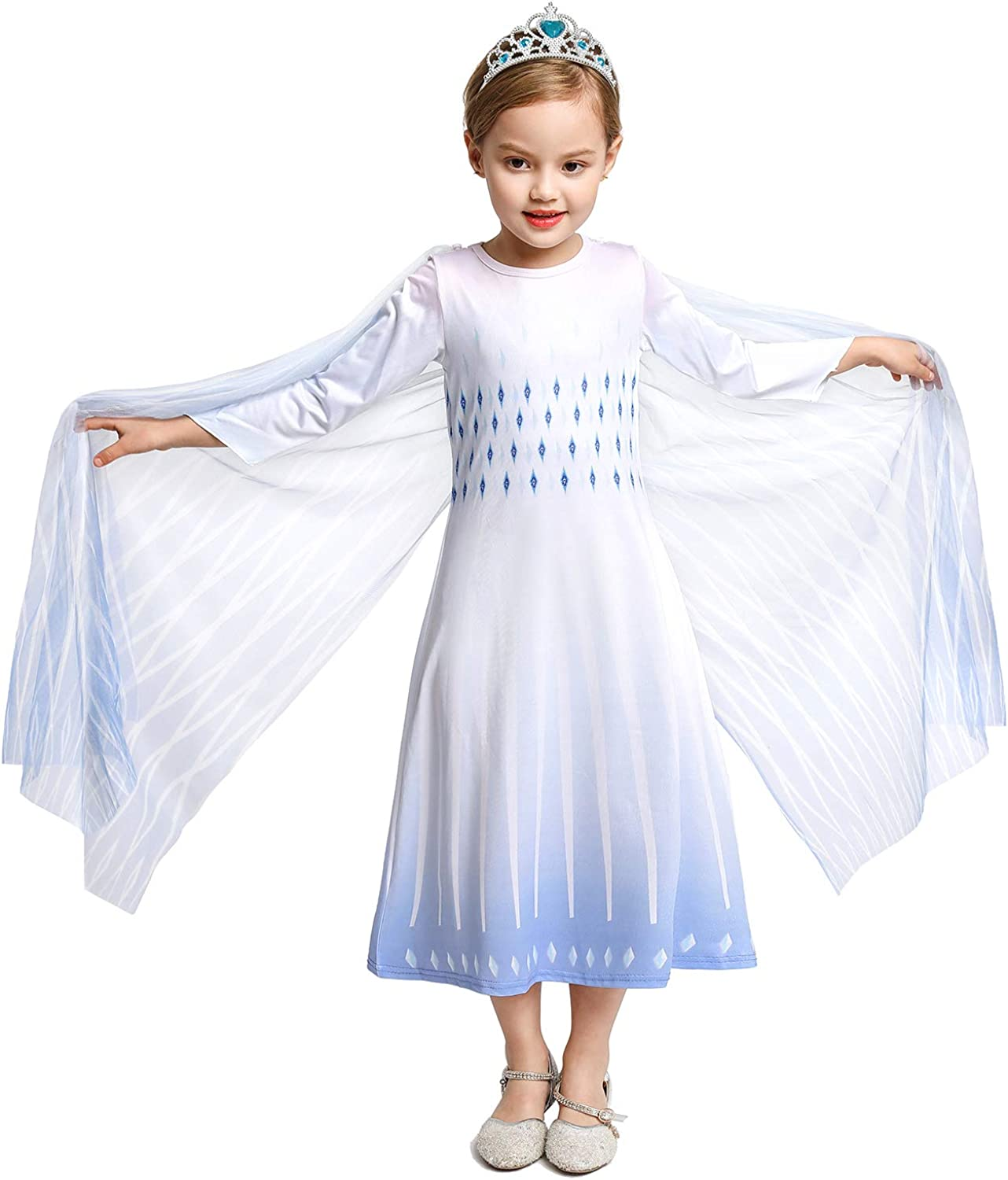 YOFEEL Little Girls Snow Princess Costume Queen Dress Up for Halloween Cosplay Party
