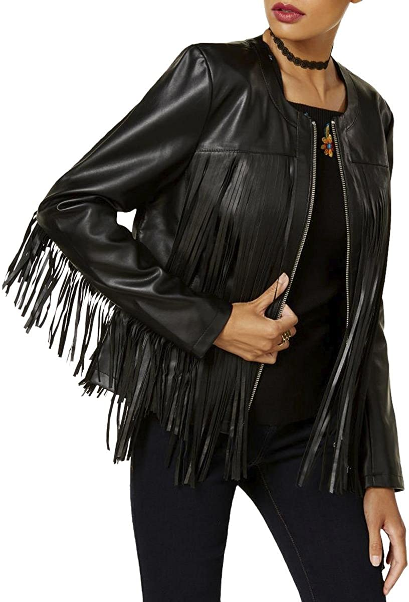 INC Womens Fall Leather Motorcycle Jacket Black M