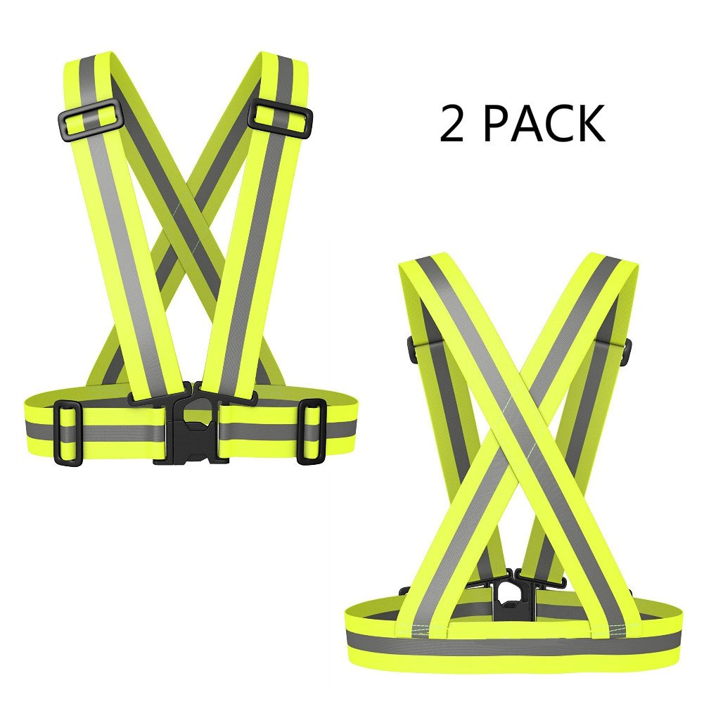 Reflective Vest Elastic & Adjustable Reflective Gear with Hi Vis Bands | High Visibility for Running,Dog Walking,Jogging,Cycling,Motorcycle Safety (2 Pack)