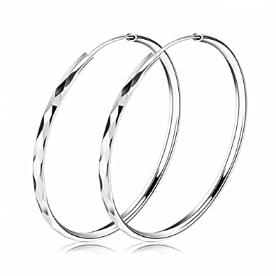Josva Hoop Earrings For Women 925 Sterling Silver Round Big Hoops