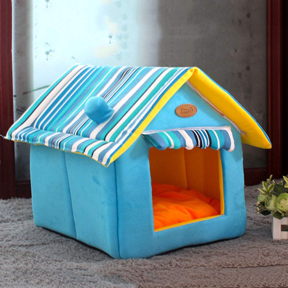 bluee X-Large bluee X-Large RIRUI Kennel Cat Litter House Villa Kennel Winter Teddy Medium Dog Four Seasons Universal Suede Removable And Washable,bluee,XL