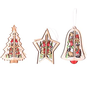 Fenteer 12 Stucke Retro Aushohlen Weihnachtsbaumschmuck Glocke Herz