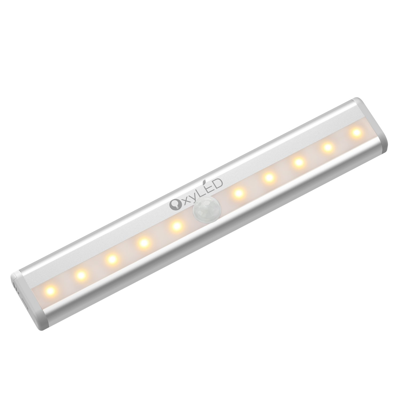 OxyLEDモーションセンサークローゼットキャビネットライト、ライト、stick-onコードレス10 LEDワードローブ/階段/ステップライトバー、L Edナイトライト、安全ライト磁気ストリップ付き、電池式 B071KTPWRK 16299 2-パック