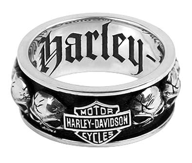 Harley Davidson Wedding Rings.Harley Davidson 925 Silver Spinning Skull Mens Ring 15 Amazon Com