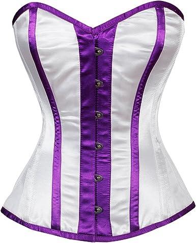 Women Stripe Halter Cotton Satin lace Up Overbust Corset Top Bustier Body Shaper