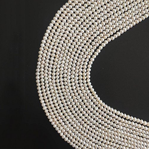 DIY Handmade Necklace Bracelet Earrings Jewelry Pearls Beads One Full Strand 3-4mm Nearly Round White Pearls Stone Lots Supplies