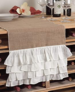 Natural Burlap Table Runner with White Double Linen Ruffles Various Sizes