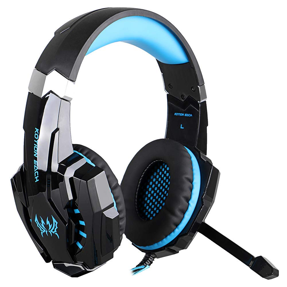 LED Light Gaming Headphone with Microphone, G9000 3.5mm Surround Stereo Game Earphone Noise Cancelling Mic for Laptop Tablet PS4 Mobile Phones (Blue) by NLDK-Headset (Image #1)