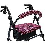 Crutcheze Pink Zebra Rollator Walker Seat and Backrest Covers Designer Fashion Accessories Made in USA